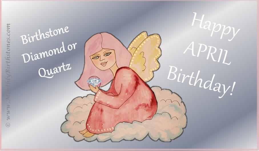 Free April Birthday eCard - Angel holding Diamond birthstone