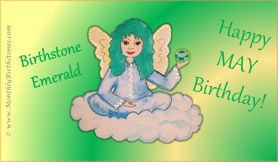 Free May Birthday eCard - Angel holding Emerald birthstone