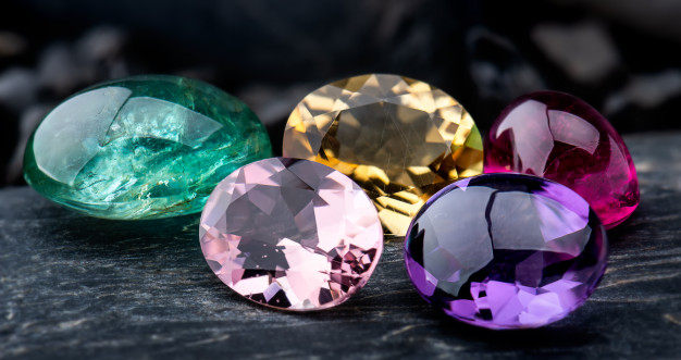Collection of colorful cut birthstones