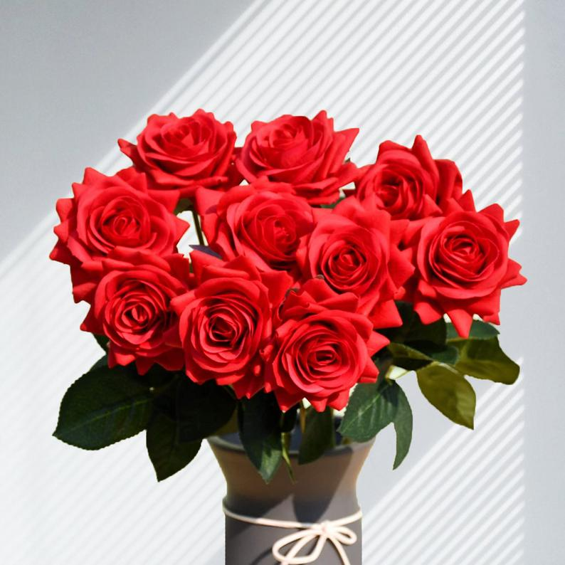 Silk Red Roses in Vase