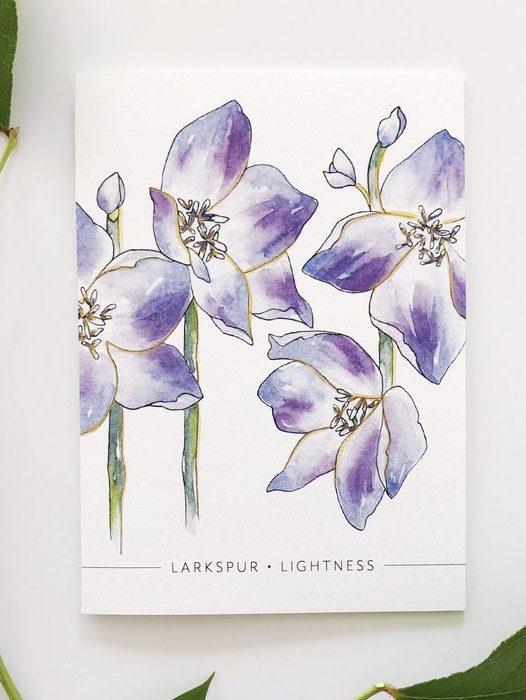 July Birthday Card with July Birth Flower Larkspur