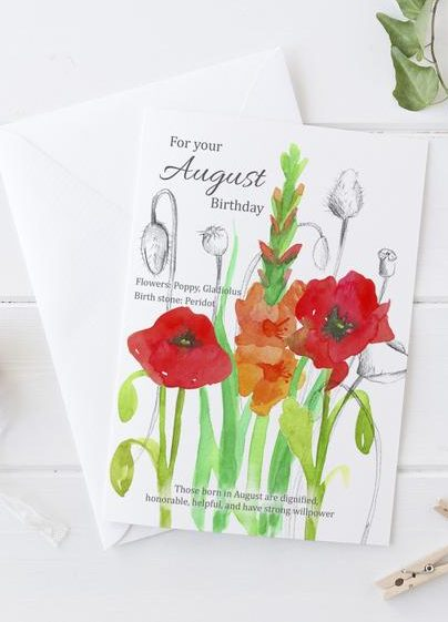 Birthday Card with August Flowers