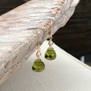 August Birthstone Earrings - Peridot Color Dangle