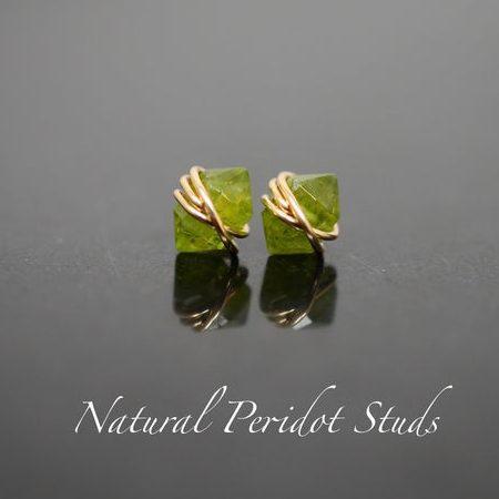 August Birthstone Earrings - Peridot Studs
