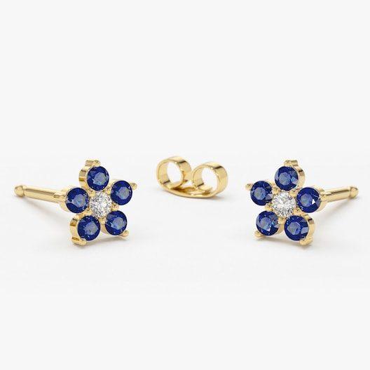 September Birthstone Earrings - Sapphire and Diamond