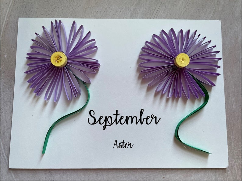 September Birthday Flower Card Aster