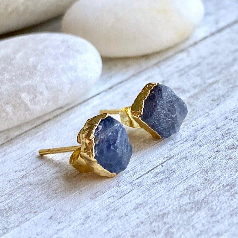 September Birthstone Earrings - Natural Sapphire Studs