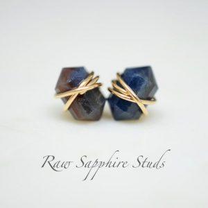 September Birthstone Earrings - Raw Sapphire Studs