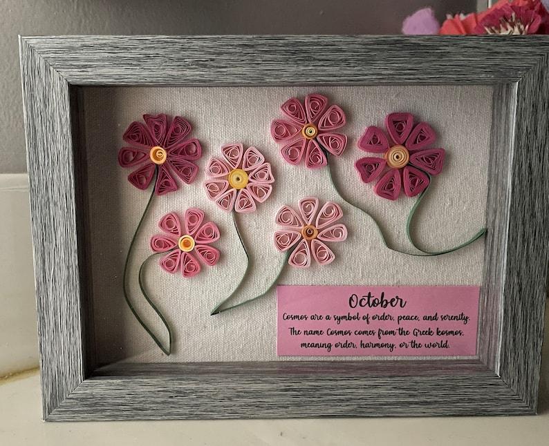 October Birthday Flower Card Cosmos
