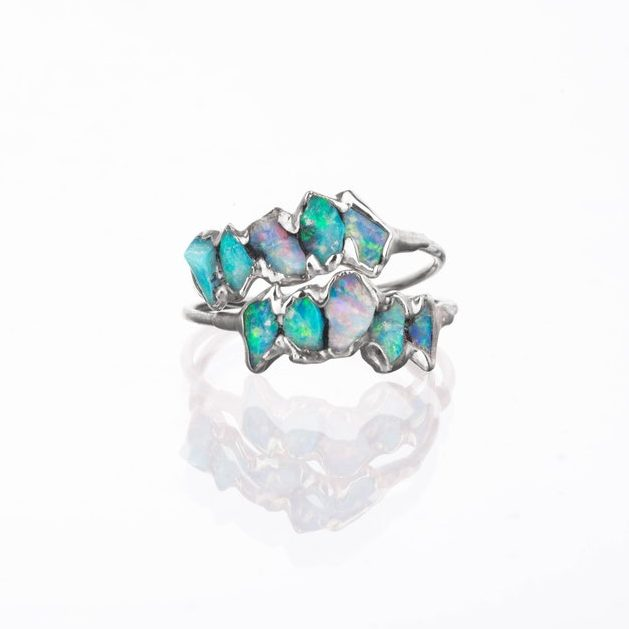 October Birthstone Ring - 5 Stone Raw Opal