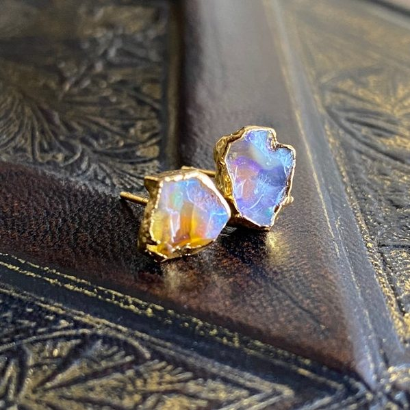 October Birthstone Earrings - Natural Opal Studs