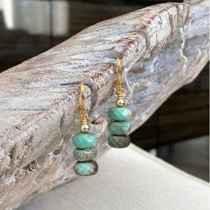 October Birthstone Earrings ~ Green Opal Dangle