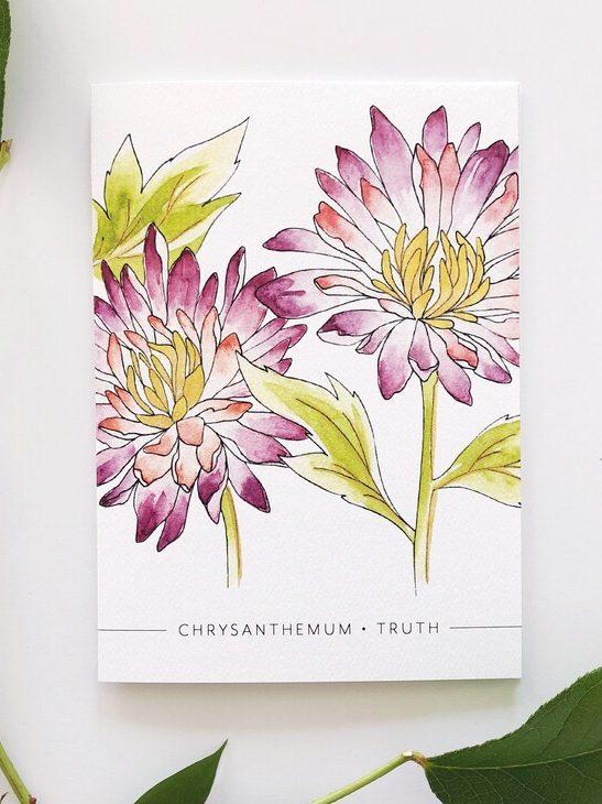 November Birth Flower Card with Chrysanthemum