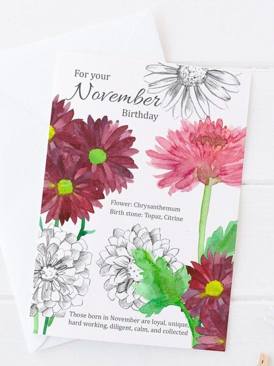 Birthday Card with November Flower Chrysanthemum