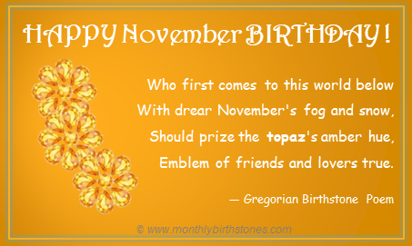 Free November Birthday Image with Birthstone Poem