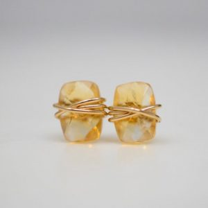 November Birthstone Earrings - Wire Wrapped Citrine Studs