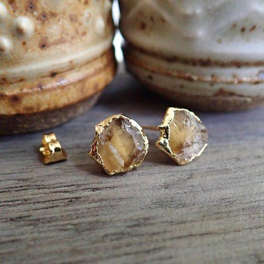 November Birthstone Earrings - Natural Citrine Studs